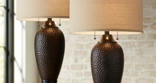 Modern Table Lamps Set of 2 Hammered Oiled Bronze for Living Room .