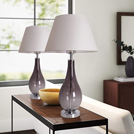 Table Lamps for Living Room Set of 2 Gray Ombre Glass 28 inch .