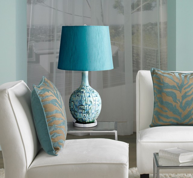 Jordan Teal Ceramic Table Lamp - Contemporary - Living Room - New .