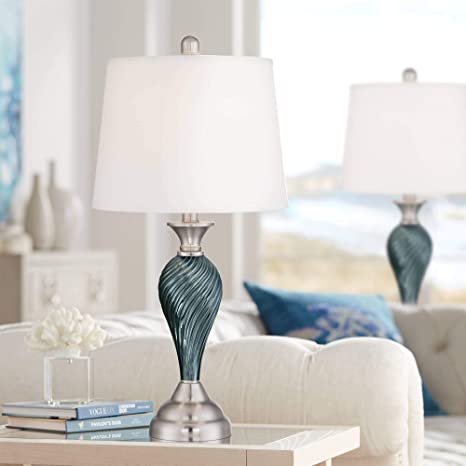 Arden Modern Table Lamps Set of 2 Green Blue Glass Twist Column .