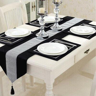 "72"" Black Diamante Velvet Table Runner + 6pcs Dining Placemats ."