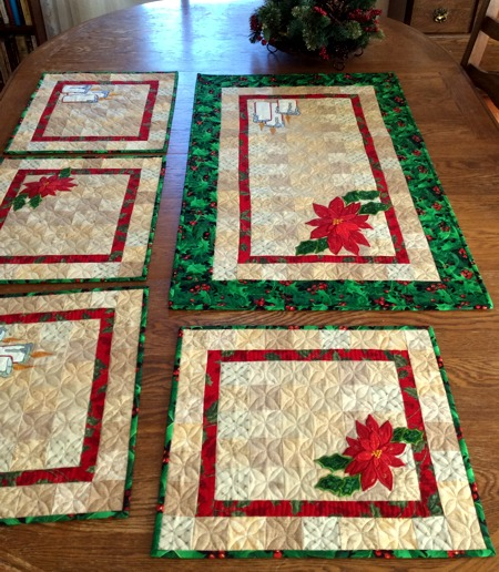 Poinsettia and Candle Quilted Place Mats - Advanced Embroidery Desig