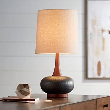 Andi Mid Century Modern Table Lamp Hammered Bronze Ceramic Wood .