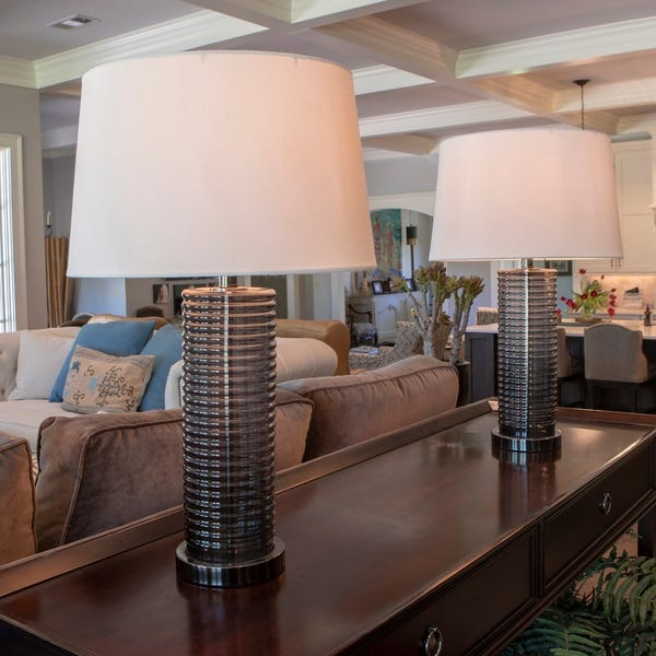 Shop Set of 2 Tall Ribbed Glass Table Lamps - On Sale - Overstock .