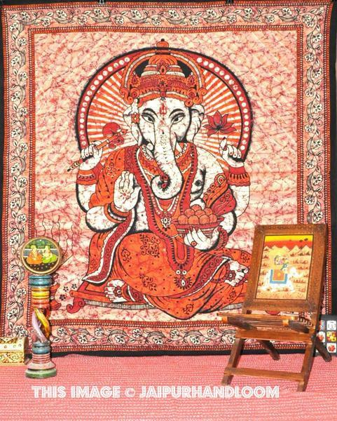 hindu wall tapestry - red ganesha tapestry wall hangi