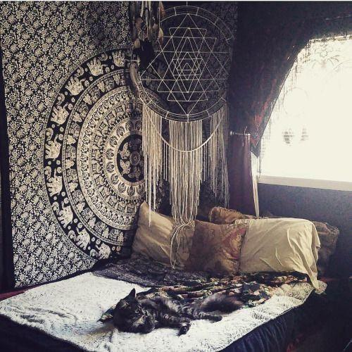 black & white hippie mandala tapestry college room wall decor tapest