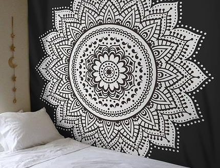 Black and white tapestry ombre mandala tapestry wall hanging dorm ro