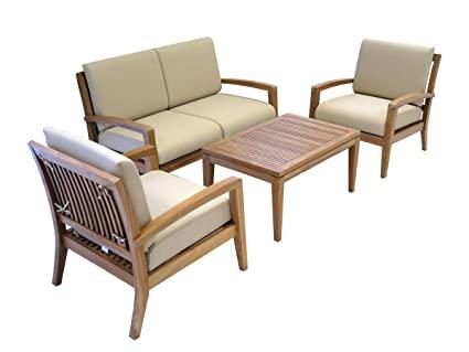 Amazon.com : Ohana Teak Patio Furniture 4-Seater Conversation Set .