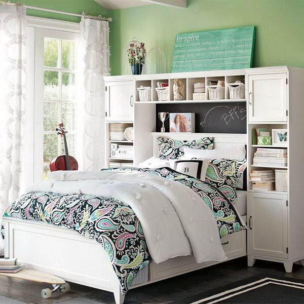 Green Teenage Girls Bedroom Ideas with White Storage Bedroom .