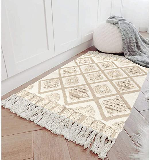 Amazon.com: Seavish Tufted Cotton Area Rug,2X 3 Beige Geometric .