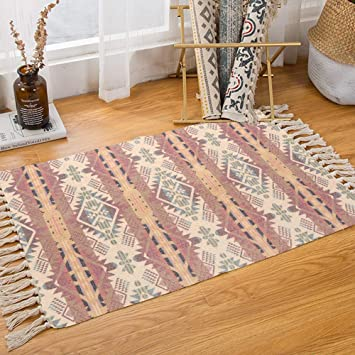 Amazon.com: Bohemian Cotton Area Rug 2' x 3', KIMODE Woven Fringe .