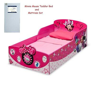 NEW Girls Interactive Wood Toddler Bed, Disney Minnie Mouse .