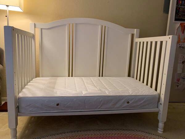 Used Pottery Barn Toddler Convertible Bed with Mattress for sale .