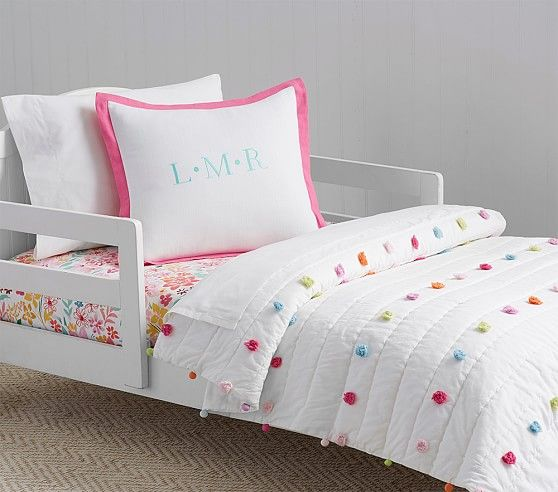 Bright Pom Pom Toddler Bedding | Pottery Barn Kids ORGANIC .