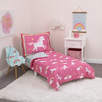Amazon.com : Carter's Rainbow Unicorn 4 Piece Toddler Bedding Set .