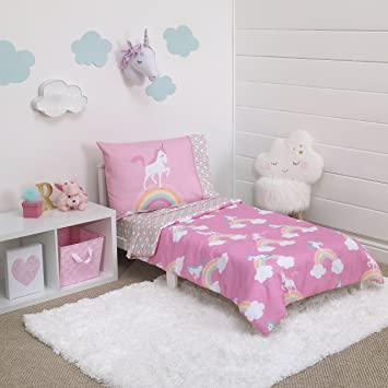 Amazon.com : Little Tikes Rainbow Unicorn 4 Piece Toddler Bedding .