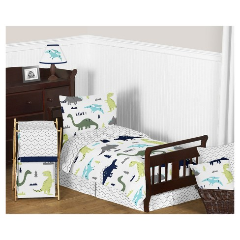 Blue & Green Mod Dinosaur Bedding Set (Toddler) - Sweet Jojo .