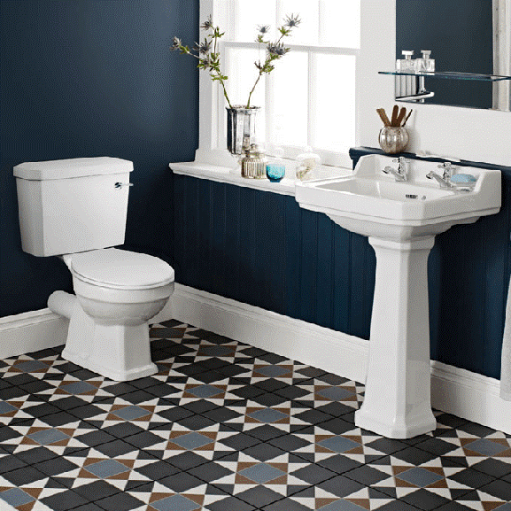 Modern and traditional basin and toilet suit