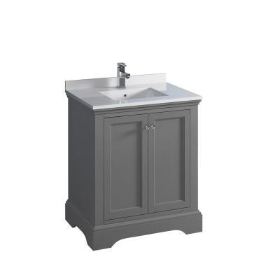 Fresca Windsor 36 in. W Traditional Bathroom Vanity in Gray .
