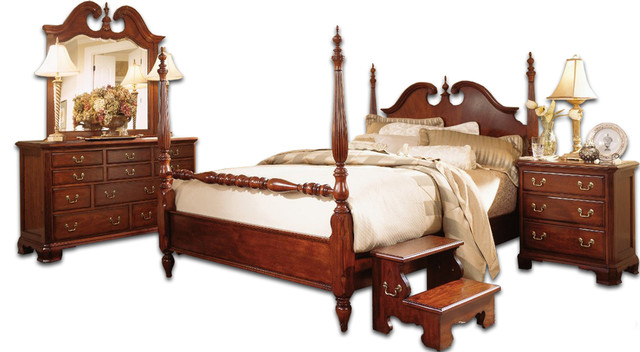 American Drew Cherry Grove Low Poster Bedroom Set - Traditional .