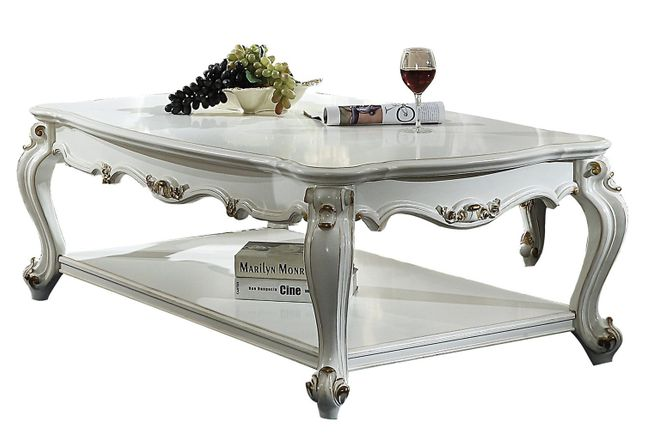 Blake Traditional Antique Pearl White Coffee Table Queen Anne Legs .