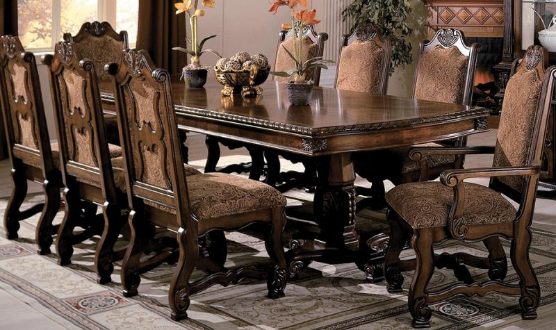 Traditional Cherry Finish Formal Dining Room Set 9Pcs Crown Mark .