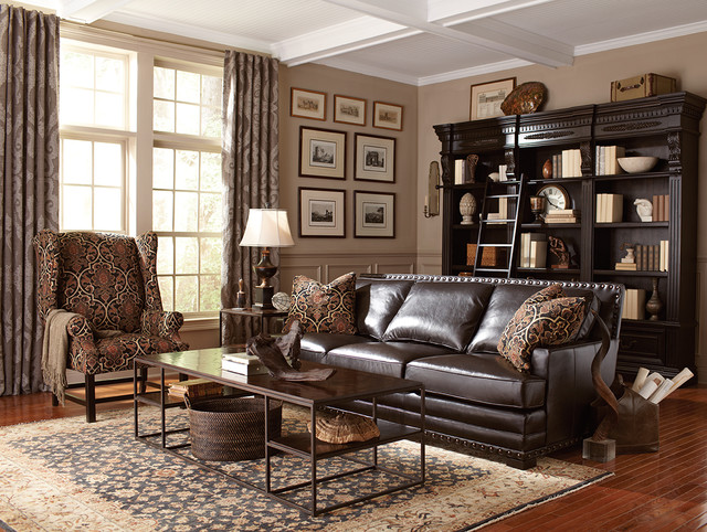Living Room: Cantor Leather Sofa by Bernhardt - Traditional .