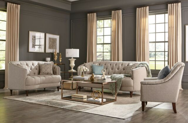 Modern Traditional Living Room 3-Piece Sofa Loveseat Couch Set .