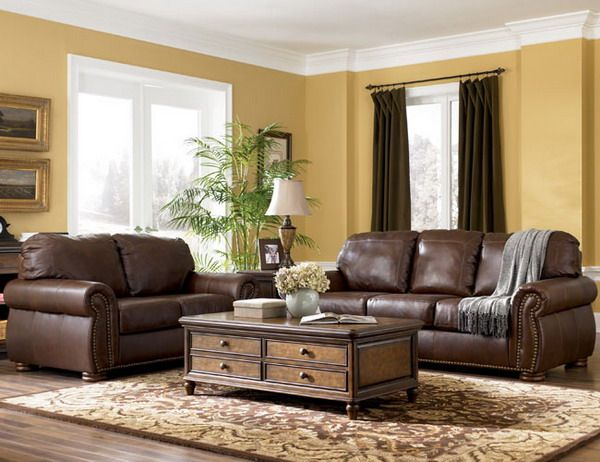 Traditional Living Room Furniture Design - I love the brown .