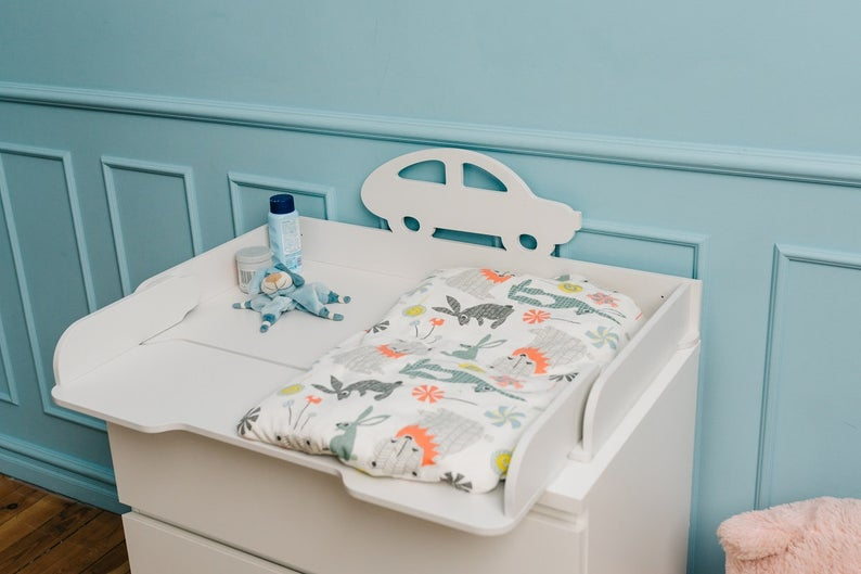 Charming car and stork changing top changing table top for | Et