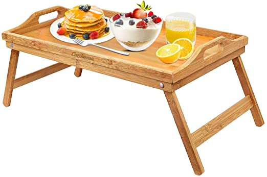Amazon.com: Cozihoma Breakfast Tray Bamboo Bed Tray Table with .