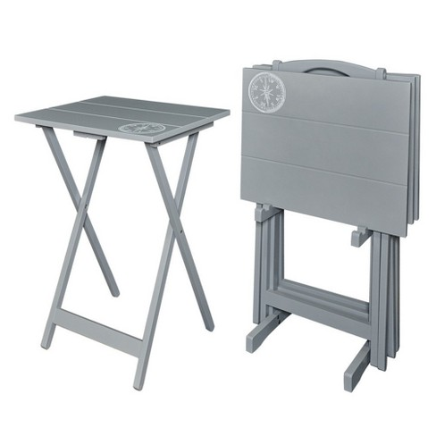 Gray Compass Tray Table Set Gray - Linon : Targ