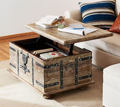 Kaplan Reclaimed Wood Lift-Top Trunk | Coffee table pottery barn .