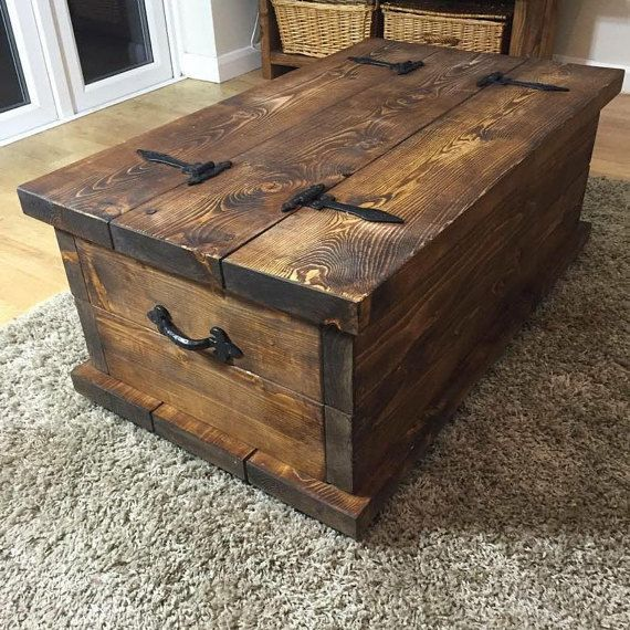 Handmade Rustic Style chest coffee table dark by HAMPSHIRERUSTIC .