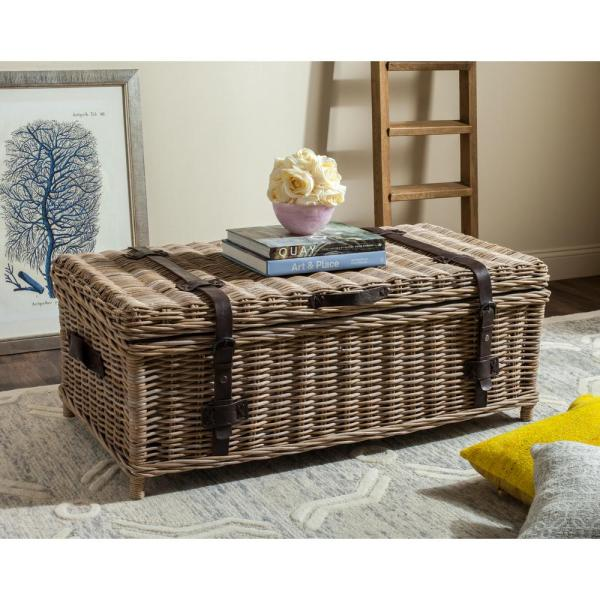 Safavieh Navarro Rattan Gray Coffee Table Trunk SEA7022B - The .