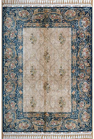Amazon.com: Yilong 5.6'x8.3' Blue Turkish Rugs Hand Knotted .