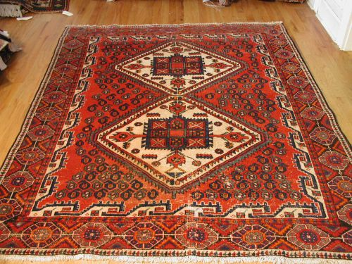 "5' 0"" x 6' 10"" Red and Navy Anatolia Semiantique Turkish Rug (WOO"