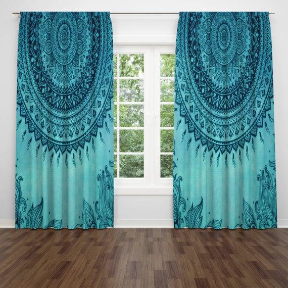 Turquoise Window Curtains Boho Decor Mandala Hippie Gypsy | Et