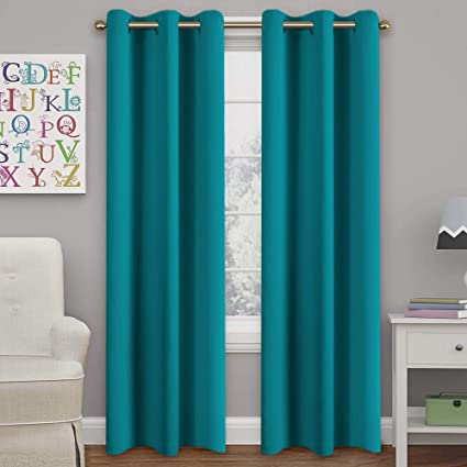 Amazon.com: Turquoize Teal Blackout Curtains Themal Insulated .
