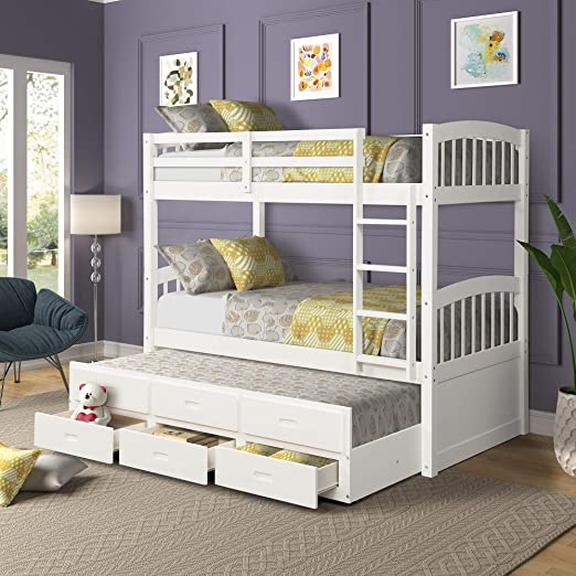 Amazon.com: Solid Wood Bunk Kids Teens Adult, Twin Bed,with Ladder .