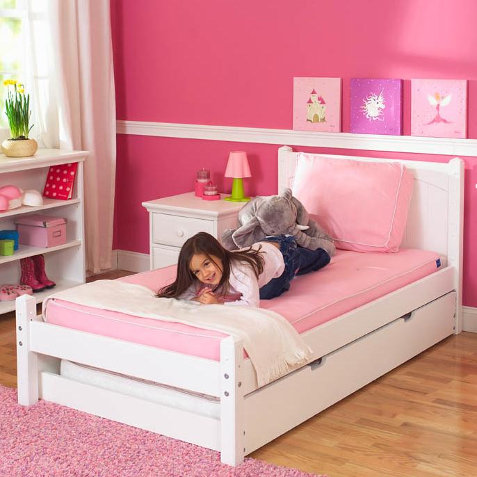 White Platform Bed by Maxtrix Kids (shown w/ trundle bed) (20