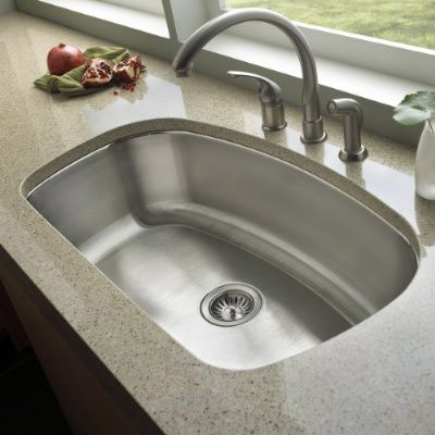 32 Inch Stainless Steel Undermount Curved Single Bowl Kitchen Sink .