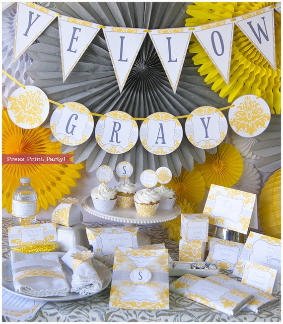 Yellow & Gray Baby Shower Decorations Printable Set Gender | Et