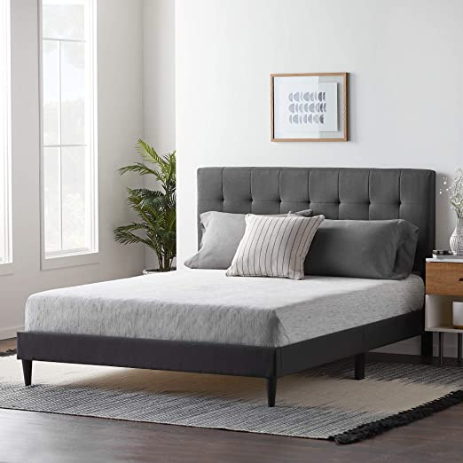 Amazon.com: LUCID Upholstered Bed with Square Tufted Headboard .