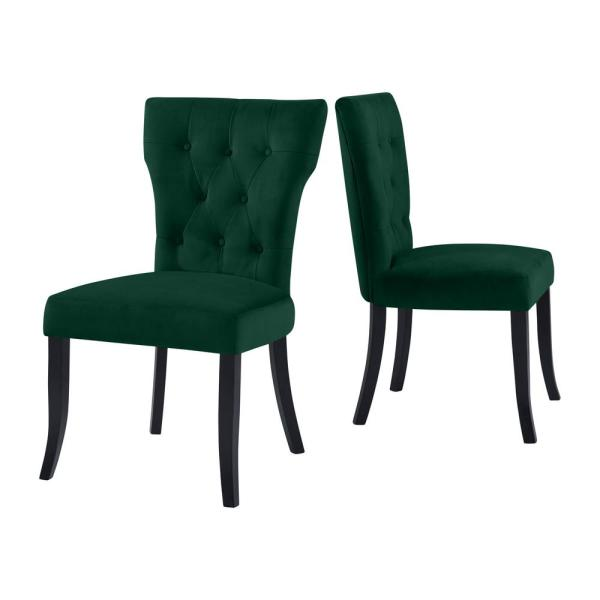 Handy Living Sirena Upholstered Dining Chairs in Emerald Green .
