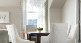 Coffee Stained Dining Table with White Upholstered Dining Chairs .