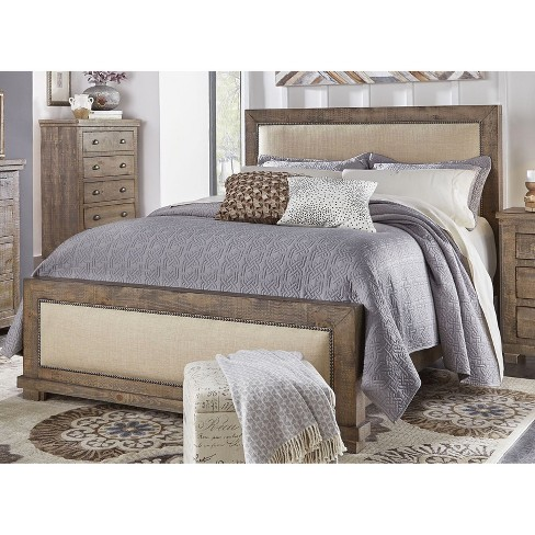 King Willow Upholstered Headboard Weathered Gray - Progressive .