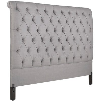 Audrey II Upholstered Pewter Headboard | Pier