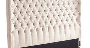 Audrey II Upholstered Flax Wingback Queen Headboard   Pier