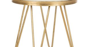 Safavieh 17.8-in H Creme/Gold Round Makeup Vanity Stool at Lowes.c